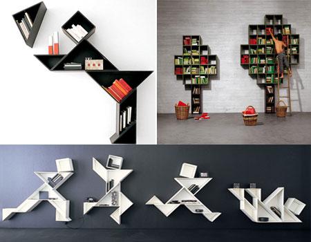 книжные полки в стиле оригами