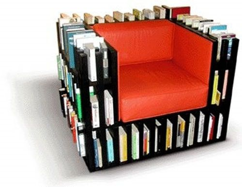 самые необычные книжные полки - книжное кресло