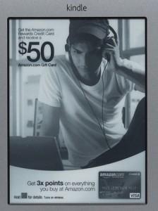 Kindle с рекламной заставкой