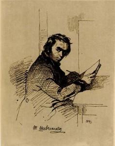 Тарас Шевченко. Автопортрет за работой - 1843 г.