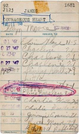 библиотечная карточка с именем Элвиса Пресли