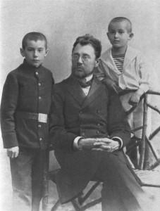 Валентин и Женя Катаевы с отцом