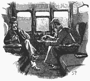 Шерлок Холмс и доктор Уотсон в купе поезда - иллюстрация 1893 г.