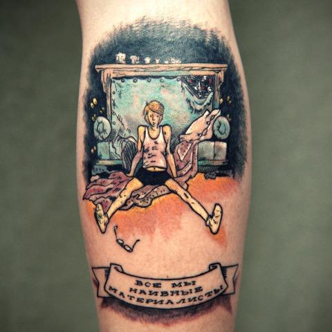"""татуировка с главным героем """"Понедельник начинается в субботу"""" и цитатой из книги"""