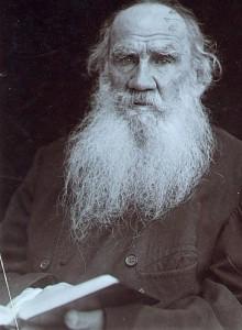 Лев Николаевич Толстой с книгой