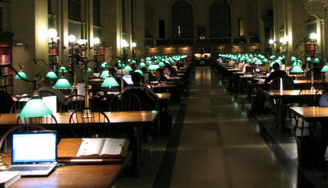 читальный зал Бостонской публичной библиотеки