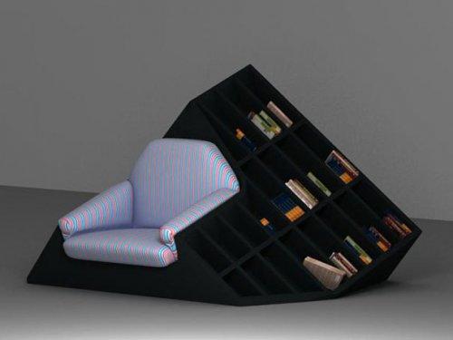 креативная комбинация кресла и книжных полок