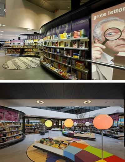 библиотека Almere Library оформлена как книжный магазин