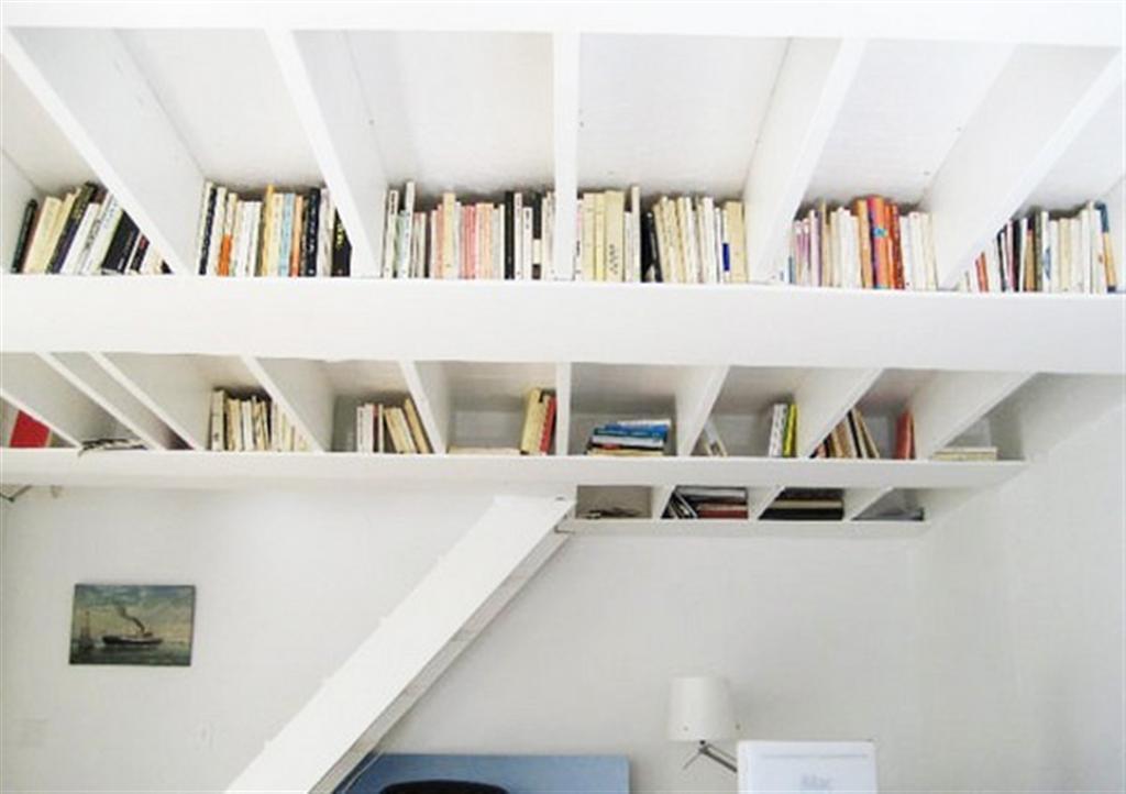 Книжные полки под потолком, необычные книжные полки, литература в картинках
