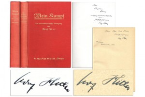 """книги с автографом Гитлера, Адольф Гитлер """"Моя борьба"""", """"Майн Кампф"""", аукционы редких книг"""