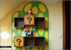 Книжная полка для поклонников братьев Марио, книжная полка Супер Марио, необычные книжные полки, литература в картинках