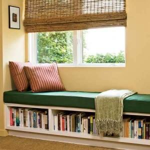 Место для чтения, полка для книг, литература в картинках