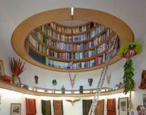 Книжный шкаф как путь в небеса, необычные полки для книг, литература в картинках, необычные книжные полки
