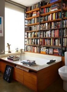 Домашняя библиотека в ванной, литература в картинках