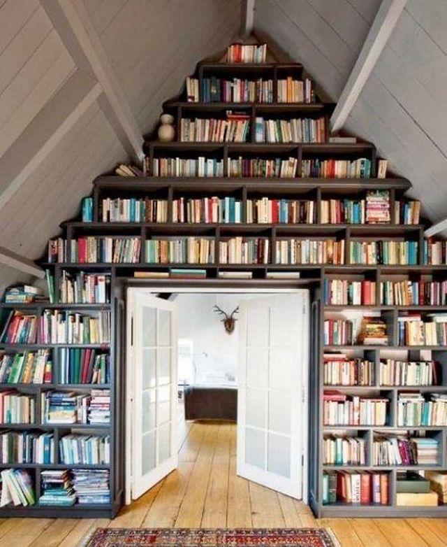 Книжные полки от пола до потолка