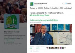 Сообщение «Общества Толкина» в Twitter