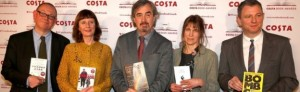 Francis Spufford, Keggie Carew, Sebastian Barry, Alice Oswald and Brian Conaghan with their books