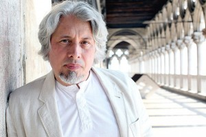 VENICE, ITALY - APRIL 21: Russian writer Vladimir Sorokin poses for a portrait during 'Incroci di civilta', the Venice Literary Festival on April 21, 2012 in Venice, Italy. (Photo by Barbara Zanon/Getty Images)