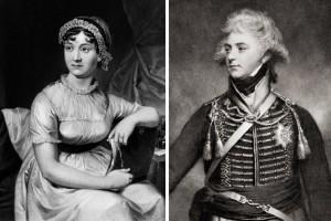 Джейн Остин, слева, ненавидела принца-регента, который позже стал Георгом IV, но он, возможно, был одним из ее первых читателей