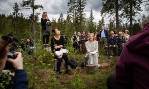 Han Kang sits with her English translator Deborah Smith in Nordmarka forest, just outside Oslo, Norway